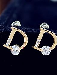 D Form Letters Fashion Stud Earrings whth Glisten Rhinestone