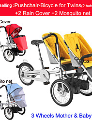 Whole Set Pushchair-Bicycle for Twins +2 Rain Cover+2mosquite net Ruituo™ Convertible Stroller 3 in 1 Bike