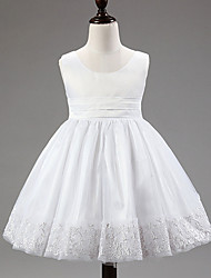 Ball Gown Knee-length Flower Girl Dress - Lace/Satin/Tulle/Polyester Sleeveless