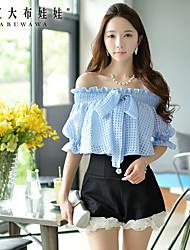 Tee-shirt Aux femmes ½ Manches Bateau Spandex/Polyester