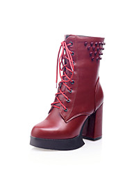 Women's Shoes Synthetic/Rubber Kitten Heel Fashion Boots/Bootie/Round Toe/Closed Toe BootsOutdoor/Office &