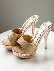 Женская обувь - Сандалии ( PU , Черный/Золотой/Серебряный ) Высокий тонкий каблук - 6-9 см