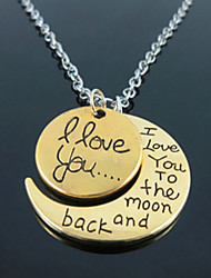 "Cusa ""I Love You To The Moon and Back""Peach Necklace"