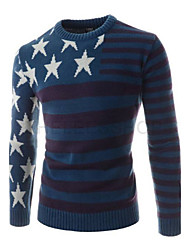 2015 the European and American wind pentagram color matching men sweater knitting round collar cultivate one's morality