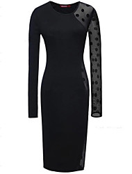 Women's Sexy Micro-Elastic Long Sleeve Knee-Length Dress (Cotton Blends)