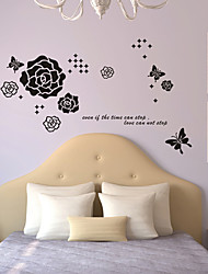 Wall Stickers Wall Decals Style Butterfly Rose PVC Wall Stickers