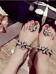 Chaussons ( Simili Cuir , Noir/Amande ) Talon plat - 0-3cm pour Chaussures femme