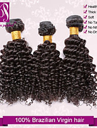 "3pcs/lot 12""-30"" Unprocessed 6A Brazilian Virgin Natural Black Kinky Curly Human Hair 100% Human Hair Weaves Thick&Soft"