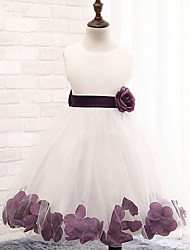 A-line Knee-length Flower Girl Dress - Cotton / Lace / Tulle / Polyester Sleeveless