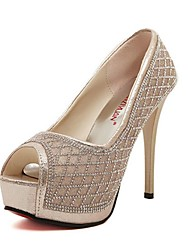 Women's Shoes Glitter Stiletto Heel Peep Toe/Platform/Closed Toe Sandals Casual Silver/Gold