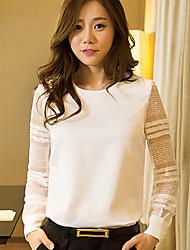 Mulheres Blusa Casual Simples Todas as Estações,Sólido Branco Manga Longa Média