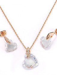 HKTC Concise 18k Rose Gold Plated Clear Cubic Zirconia Sweety Heart Pendant Necklace and Earrings Set