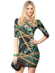 Fengzhe Women's Sexy/Bodycon/Print Round Short Sleeve Dresses (Polyester)