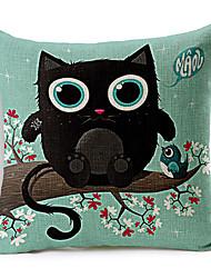 Modern Style Cartoon Cat & Bird Cotton/Linen Decorative Pillow Cover