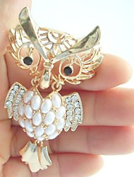 Women Accessories Gold-tone Clear Rhinestone Crystal Owl Brooch Art Deco Crystal Brooch