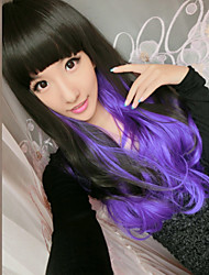 Natural Wave Wigs Hair Cosplay Synthetic Hair Wigs Mix Black And Purple Color