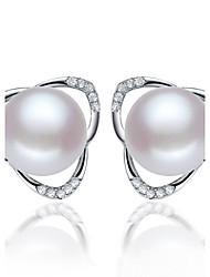 z & x® 925 argenté mode élégante eau douce boucles d'oreilles perle stud mariage / fête / jour