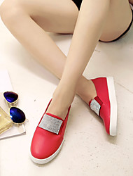 Women's Shoes Glitter Flat Heel Round Toe Loafers Outdoor/Casual Black/Red/White