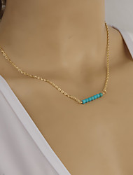 Women's Fashion Metal Turquoise Beaded Short Necklace