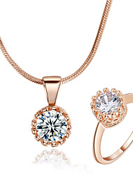 T&C Women's Classic Crown Style 18k Rose Gold Plated Swiss Cubic Zircon Stone Pendant Necklace Ring Set