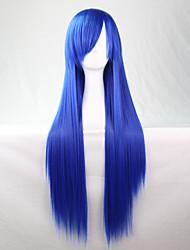 Lattichanimeperücke bunten Perücken langen blauen glattes Haar Perücke 80 cm