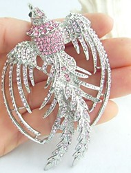 Women Accessories Silver-tone Pink Rhinestone Crystal Phoenix Brooch Art Deco Crystal Brooch