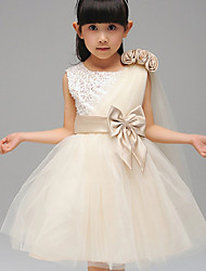 A-line/Ball Gown Tea-length Flower Girl Dress - Cotton/Tulle/Sequined/Polyester Sleeveless