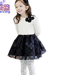 Waboats Winter Girls Long Sleeve Bow Plaid Skirt Dress