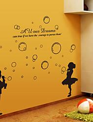pegatinas de pared Adhesivos de pared, la muchacha del muchacho negro blowwing burbujas pegatinas de pared del pvc