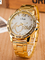 Women's Fashion Watch Quartz Alloy Band Heart shape Yellow Brand