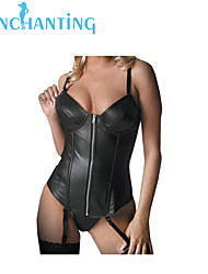 Senchanting Women's Sexy Faux Leather Zipper Overbust Corset Butier with Strape