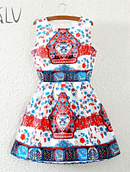 Women's Chinese Classical Pattern Print Vintage Micro-elastic Sleeveless Above Knee Dress (Polyester)