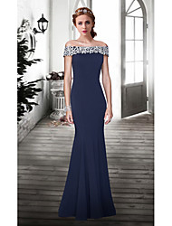 Formal Evening Dress - Dark Navy Plus Sizes / Petite Trumpet/Mermaid Off-the-shoulder Floor-length Lace