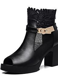 Women's Shoes Leatherette Chunky Heel Heels Sandals Dress Black/Burgundy