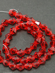 Beadia 100PCS Glass Facetted Crystal Beads 6mm Diamond Bicone Shape Red Color DIY Spacer Loose Beads