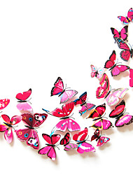 3d stickers muraux couleur de papillon de style mur de décalcomanies rose rouge pvc stickers muraux