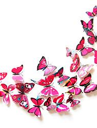 3d pegatinas de pared de color mariposa del estilo calcomanías de pared de pvc rosa roja pegatinas de pared