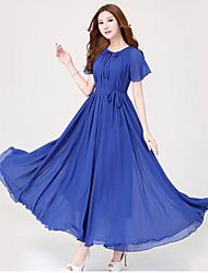 Women's Round Dresses , Chiffon Beach Short Sleeve SASA