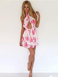 Women's Casual Print A Line Dress , Halter Mini Chiffon