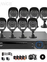sannce® 8ch ahd-l dvr w / ecloud 8pcs salida 1080p / VGA / BNC hdmi 800tvl 42leds CMOS día / noche cámaras IR-CUT IP66 (sin disco duro)