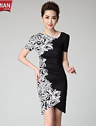 YUEMIAN™ Women's Half Sleeve Slim Round Collar Bodycon Print Dresses