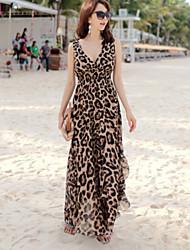 Women's Beach Dress,Leopard Maxi Sleeveless Beige Summer