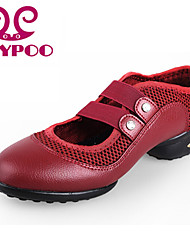 Non Customizable Women's Dance Shoes Dance Sneakers/Modern Leather/Fabric Chunky Heel Black/Red