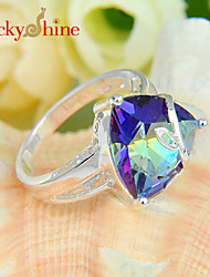 Lucky Shine Women's Men's Unisex 925 Silver Newest Fire Mystic Topaz Crystal Gemstone Wedding Rings