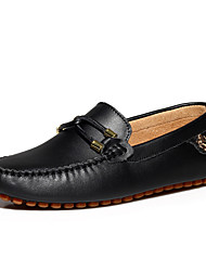 Men's Spring Summer Fall Leather Office & Career Casual Slip-on Black Blue Brown