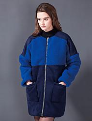 Fur Coats Coats/Jackets Long Sleeve Lambskin Leather/Artificial Leather/Faux Fur/Lamb Fur Pool