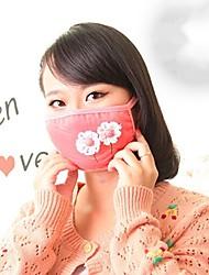 Lovely Flower Pattern Fleece Anti-Dust Winter Thermal Adult Respirator Face Masks Health Gauze Mask (Random Color)