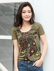 Mulheres Camiseta Decote Redondo Manga Curta Algodão Mulheres