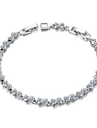 T&C Women's Figaro Chain 18K White Gold Plated Clear Crystal Swiss Cubic Zirconia S-style Rhinestones Tennis Bracelet