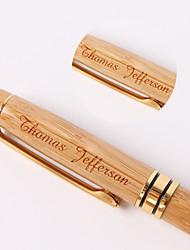 Canetas - Presente personalizado - Caqui - de Madeira/Revestimento Dourado